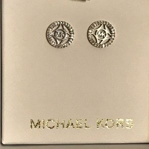 Michael Kors Logo Sterling Silver Stud Earrings